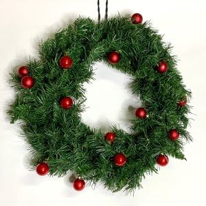 Other - Evergreen Christmas Wreath w/ Red Glass Ornaments